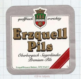 GERMANY - Erzquell Brauerei Bielstein Haas & Co. -PILS - beer label