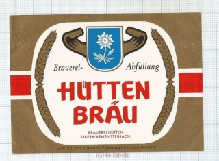 GERMANY - Brauerei Hutten Oberwarmensteinach - beer label