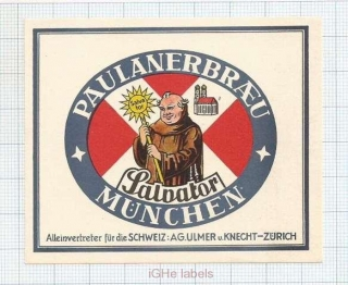 GERMANY - Paulaner Salvator Thomas Brau Minich - SALVATOR - beer label