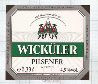 GERMANY - Wicküler Küpper Wuppertal - PILSNER - beer label