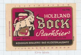 GERMANY - Kommun-Brauerei Bad Kloserlausnitz - BOCK - beer label