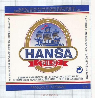 GERMANY - Hansa Brauerei Dortmund - PILS sailboat - beer label