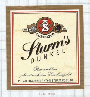 GERMANY - Anton Sturm Coburg - DUNKEL - beer label