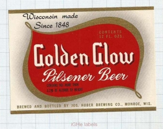 US - Jos.Huber Brew Co Monroe WI - GOLDEN GLOW - beer label