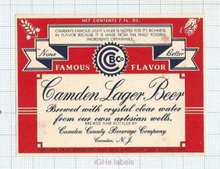 US - Camden County Beverage Company Camden, NJ - LAGER BEER - beer label
