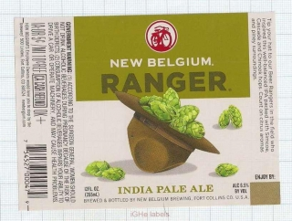 US - New Belgium Brew Co Fort Collins, CO - RANGER INDIA PALE ALE - beer label