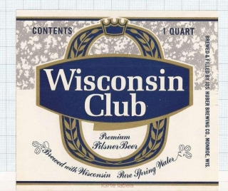 US - Jos.Huber Brew Co Monroe WI - WISCONSIN CLUB - beer label