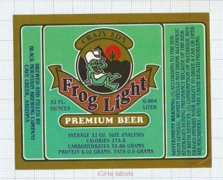 US - Micro,Black Mountain Brewing Co.Cave Creek, AR - FROG LIGHT - beer label