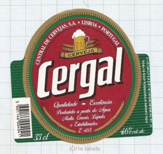 PORTUGAL - Central de Cervejas Lisboa - CERGAL - beer label