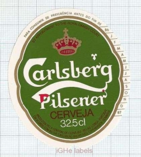 PORTUGAL - Central de Cervejas Lisboa - CARLSBERG - beer label