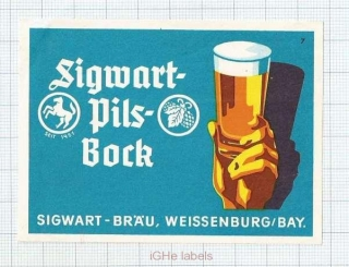 GERMANY - Sigwart-Bräu Weissenburg - PILS BOCK - beer label