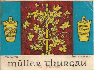 CZECHOSLOVAKIA - Modra - Muller Thurgau - wine label