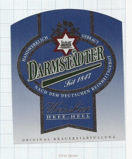 GERMANY - Darmstadt, WEISSBIER (locomotive,train) - beer label