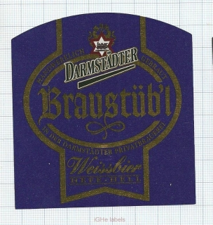 GERMANY - Darmstadt, BRAUSTUBL (locomotive,train) - beer label