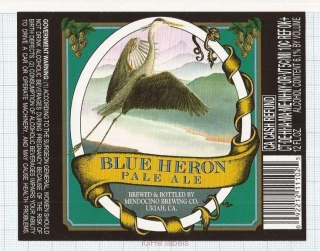 US - Micro, Mendocino Brewing Co. Ukiah - BLUE HERON PALE ALE - beer label
