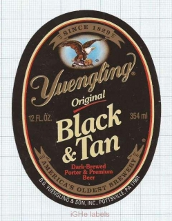 US - Yuengling Brew Pottsville, PA - BLACK & TAN - beer label