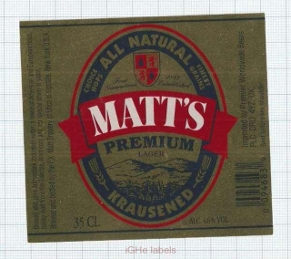 US - F.X. Matt Brew Co Utica NY - PREMIUM - beer label