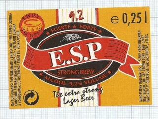 France - E.S.P Strong Brew, Fuerte, forte - beer label