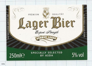 France - LAGER BIER, german lager, by ASDA - beer label