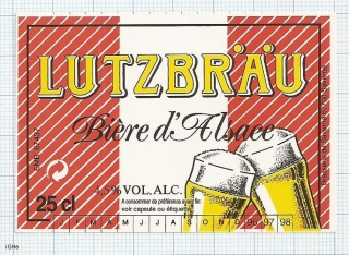 France - Saverne, LUTZBRAU, Biere d'Alsace - beer label