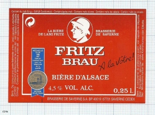 France - Saverne, Biere d'Alsace, FRITZ BRAU - beer label