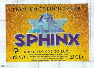 France - Saint Omer - SPHINX, Biere blonde de luxe - beer label