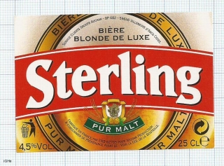 France - Villeneuve, d'Alsace, STERLING pur malt - beer label