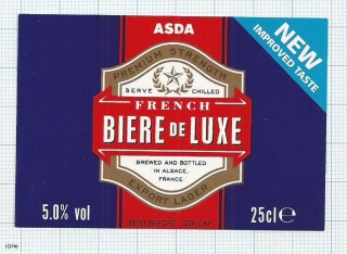 France - French biere de Luxe, ALSACE, for ASDA - beer label
