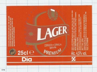 France - Lager Premium, DIA - export portugal, greece  - beer label