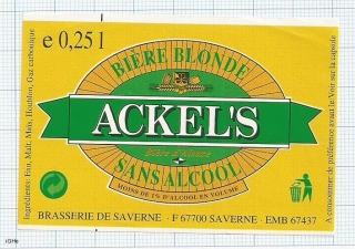 France - Saverne, ACKEL'S Biere blonde - beer label