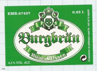 France - BURGBRAU Biere d'Alsace - beer label