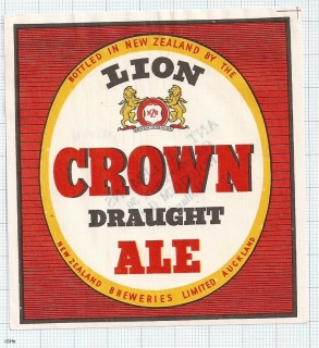 NEW ZEALAND - NZB, Auckland, LION Crown ale Draught - beer label