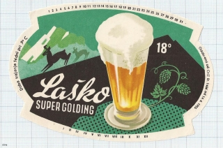 SLOVENIA (YUGOSLAVIA) - Laško, SUPER GOLDING - beer label