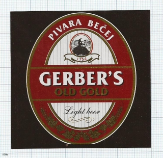 SERBIA (YUGOSLAVIA) - Bečej, OLD GOLD GERBER'S - beer label