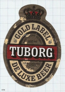 MALAYSIA - TUBORG GOLD LABEL - Beer label